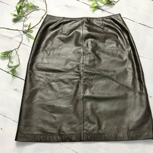Apostrophe Brown Genuine Leather Skirt Size 6